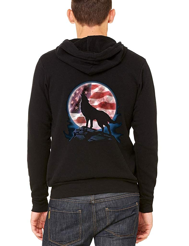 Mens American Moon Wolf Black Fleece Zipper Hoodie Black
