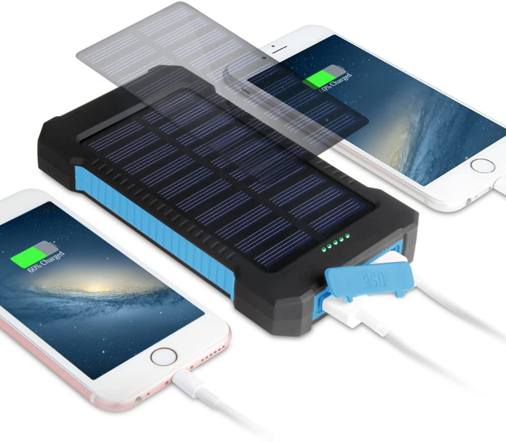 Cargador Solar Móvil 15000mAh, OKE Batería Externa Solar Banco de energía Power Bank Doble Puerto USB con LED Luces de Emergencia, Solar Charger Portátil a prueba de Golpes/Polvo/Agua Compatible iPhone, iPad, Android
