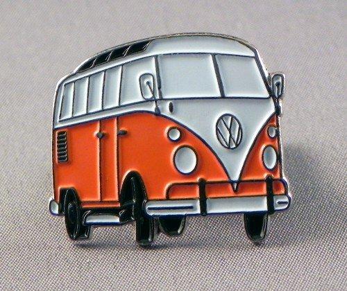 Broche en métal émaillé Orange Volkswagen VW Camper Van Transporter