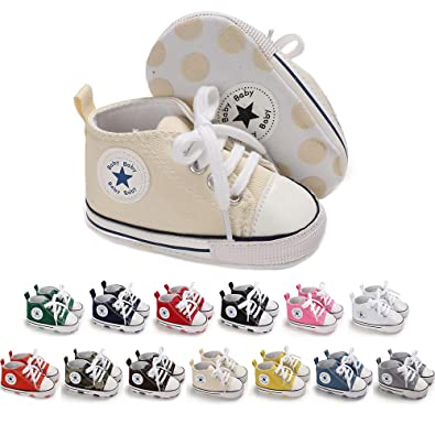 bbd25bb414a3f Mybbay Infant Baby Boy Girl Canvas Sneakers Soft Sole Anti-Slip Star High  Top Newborn First Walker Shoes 3-18 Months