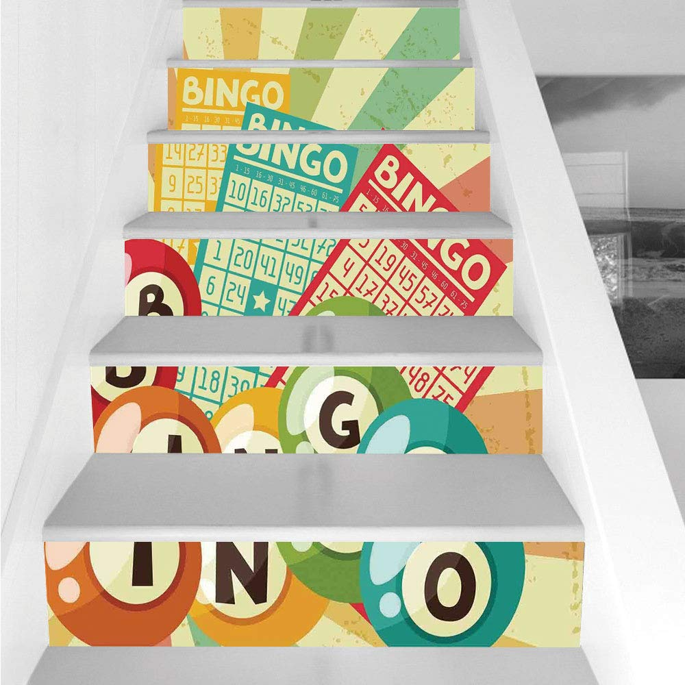 Stair Stickers Wall Stickers,6 PCS Self-Adhesive,Vintage Decor,Bingo Game with Ball and Cards Pop Art Stylized Lottery Hobby Celebration Theme,Multi,Stair Riser Decal for Living Room, Hall, Kids Room