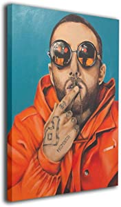 Silver-S Mac Miller Rapper Singer Poster Wall Art Decor Framed Print 12x16 In For Living Room Bathroom Decoration Ready To Hang