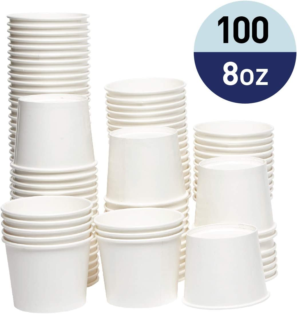 Papernain Paper Disposable Ice Cream Cups, Dessert Bowls (White, 8 oz, 100-Count)
