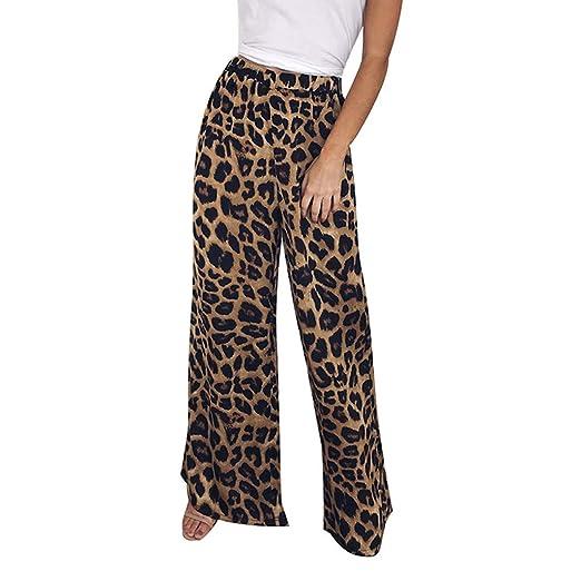 e42b4e12a3a8 Amazon.com: Nadition Wide Leg Pants,2019 Fashion Women High Waist Leopard Print  Pants Ladies Casual Loose Long Trousers: Clothing