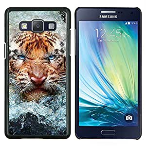 LECELL--Funda protectora / Cubierta / Piel For Samsung Galaxy A5 A5000 -- Angry Tiger Cat agua Naturaleza Animal --