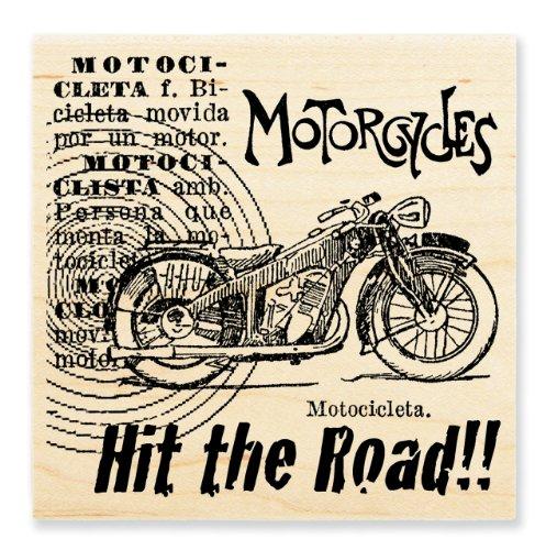 STAMPENDOUS Wood Handle Stamp, Motorcycle Elements