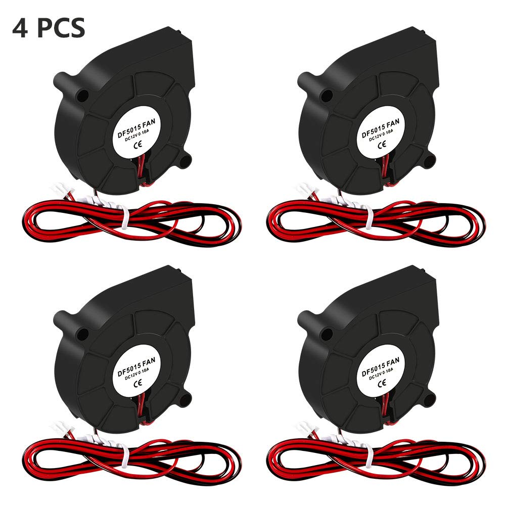 Aokin 4 Pcs 5015 DC Brushless Cooling Blower Fan, 50x50x15mm Cooling Fan with 2 Pin Terminal for 3D Printer Hotend Extruder Heatsinks, 12V 0.18A