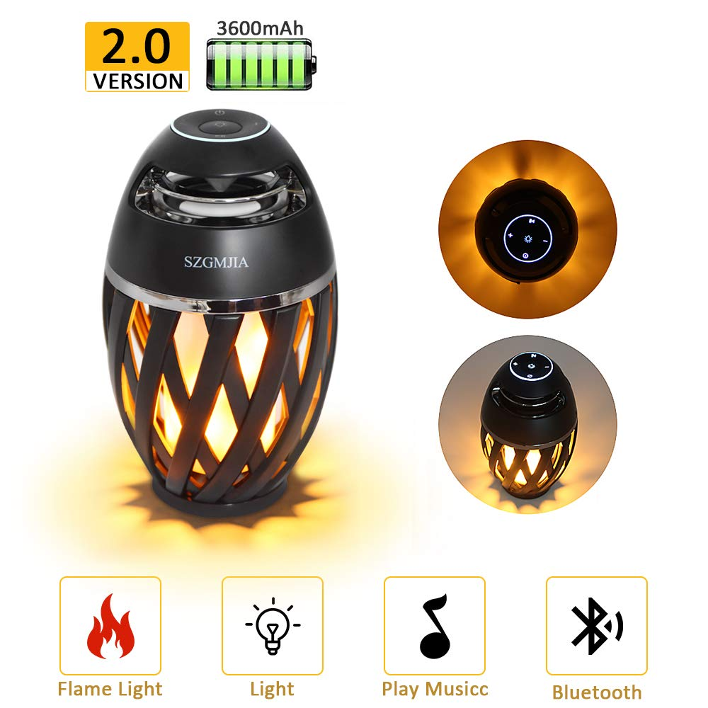 LEDMEI Led Flame Speakers, Flame Torch Atmosphere Speaker Bluetooth 4.2 Wireless Portable Outdoor HD Audio Waterproof Speaker with LED Flickers Warm Night Lights for iPhone/iPad/Android by SZGMJIA