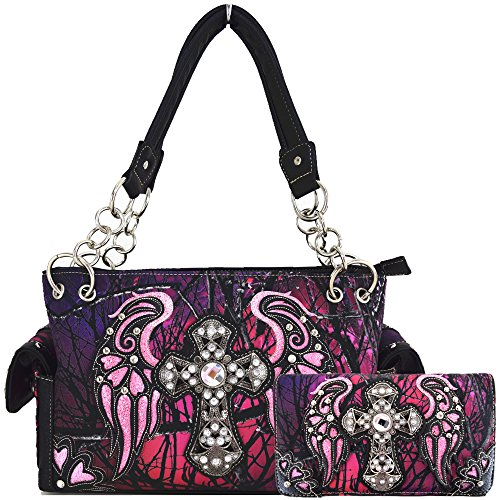Camouflage Cross Wings Western Style Concealed Carry Purse Country Handbag Women Shoulder Bag Wallet Set (Purple (Studded Wing)