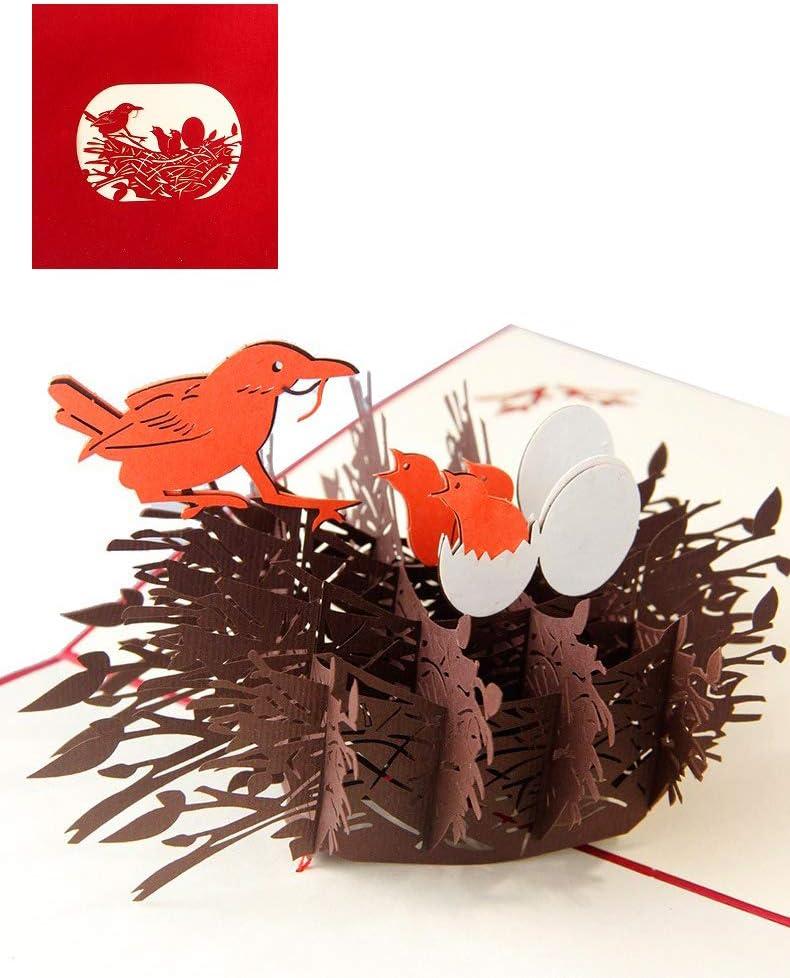 DEESOSPRO® [Tarjeta de Cumpleaños] [Tarjeta de Aniversario] [Tarjeta de Graduación] con Patrón Emergente 3D Creativo, Regalo para Cumpleaños, Graduación, Navidad, Día del Niño (Nido de Pájaro)