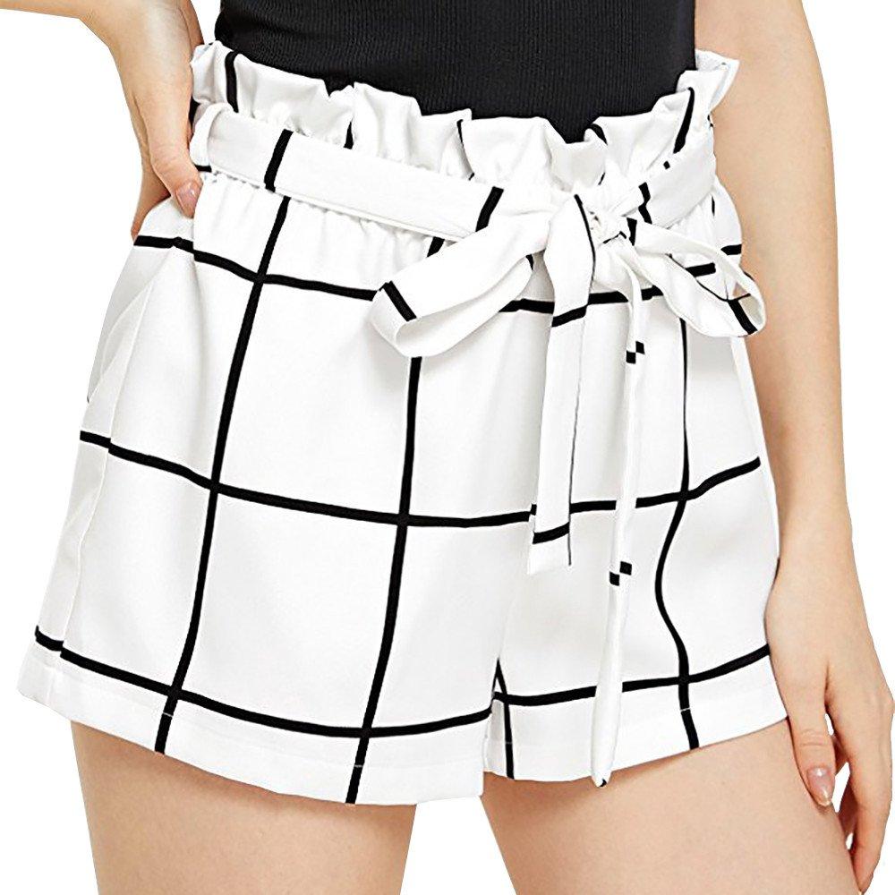 Womens Shorts, Libermall Women's Casual Plaid Bandage High Waist Summer Loose Trousers Short Pants White
