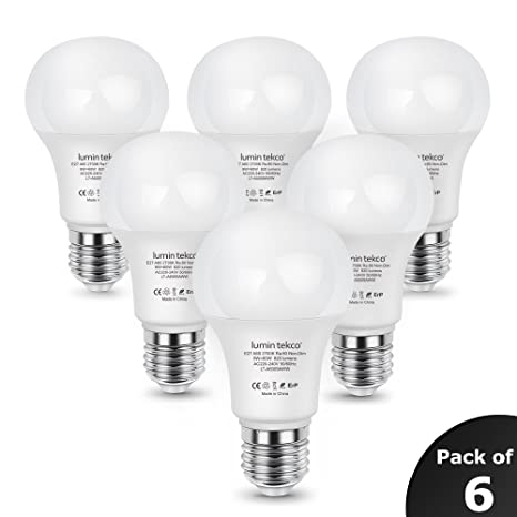 Bombillas LED E27 A60, Lumin Tekco Edison Globo Luz blanco calido 2700K 9W Equivalente a