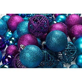 100 Purple And Blue Christmas Ornament Balls Shatterproof Metal Hooks Hanging Ornaments