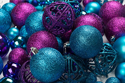 100 Purple And Blue Christmas Ornament Balls Shatterproof + 100 Metal Ornament Hooks, Hanging Ornaments For Indoor/Outdoor Christmas Tree, Holiday Party, Home Decor (100 Set Of Christmas Ornament)