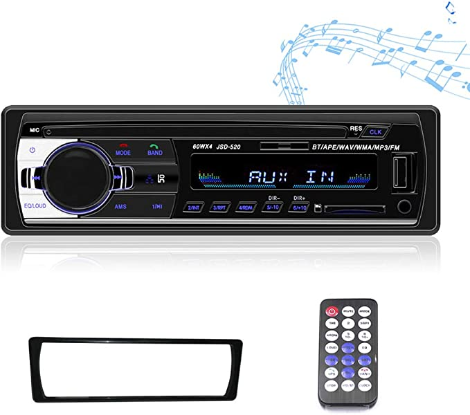OLiehu Single DIN Car Stereo Receiver MP3 Player,FM//USB//Aux-in//TF Card Port Bluetooth Audio Wireless Remote Control//Border