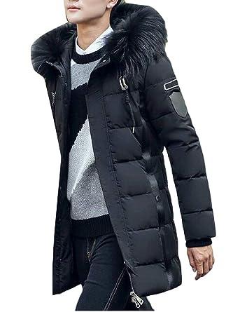 ae308d41063 YYG Men Faux Fur Hooded Thermal Longline Plus Size Down Puffer Coat Jacket  Outerwear Black S