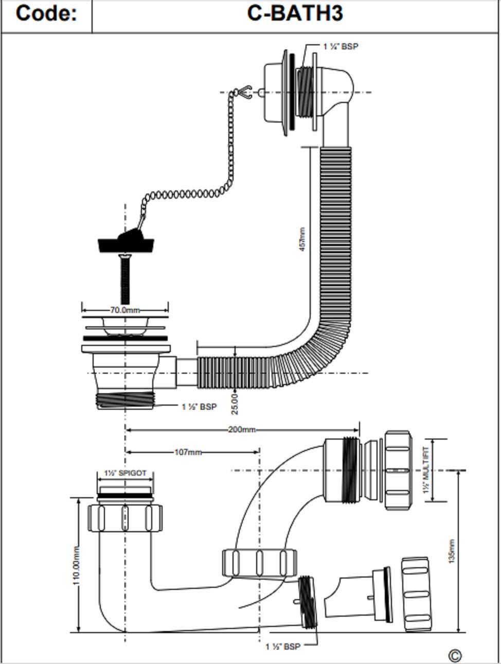75mm Seal Bath Trap McAlpine C-Bath 3 Waste and Overflow