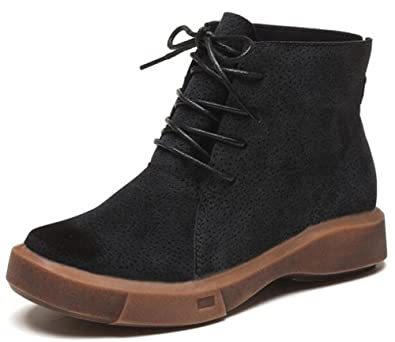8245c6e0c8bd IDIFU Women s Casual Round Toe Low Wedge Heels Lace Up Martin Boots Ankle  Booties (Black