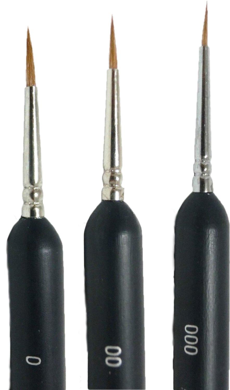 (Lokirif) plastic brush 3 sets (width #000-#0) (thin small figure hobby plastic model paint brush)