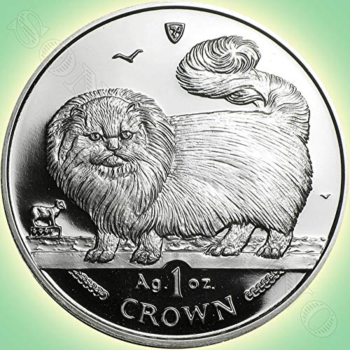 (1997 LONG HAIRED SMOKE CAT COIN - 1 Oz .999 Silver Proof Crown Coin - Isle of Man - Brand New from the Mint in Box with Certificate of Authenticity )
