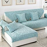 Sofa cushions,Combination non-slip plush pet protection carpet durable dust proof and stain resistant yoga mat bay window mat-blue 90x180cm(35x71inch)