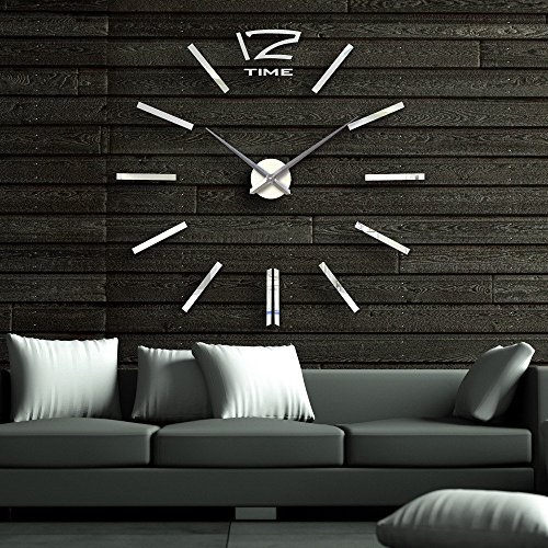 40 inch Modern 3D Mirror Wall Clock, DIY Room Home Decor Bell Cool Mirror Sticker Big watch,Silver ()