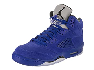 "3b819f7bcaf Jordan Retro 5 ""Blue Suede"" Game Royal/Black (Big Kid)"