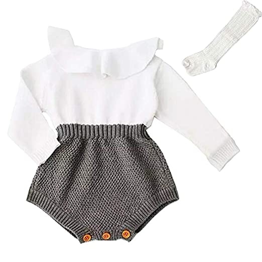 b309b6095 PerFBdy Christmas Outfits Baby Girl Knitted Ruffle Long Sleeve Romper  Bodysuit Clothes with High Socks Tube