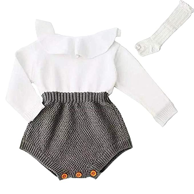 5d8e1247a7 PerFBdy Christmas Outfits Baby Girl Knitted Ruffle Long Sleeve Romper  Bodysuit Clothes with High Socks Tube