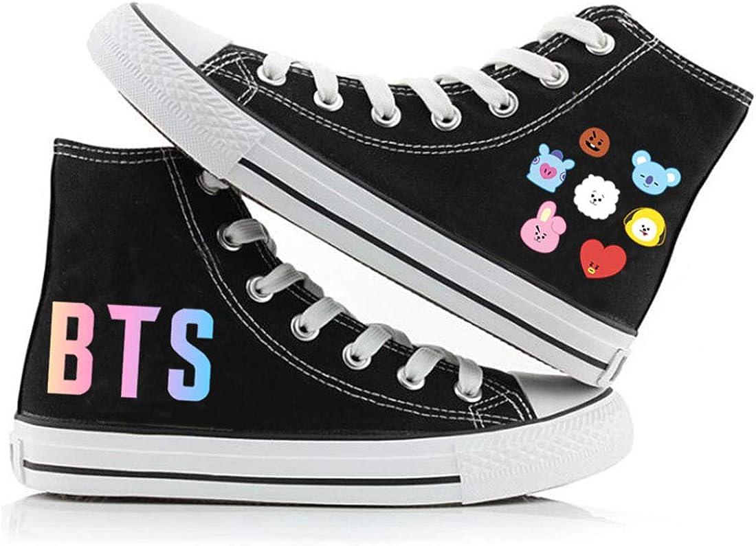 DHSPKN BTS High Top Cartoon Canvas Shoes Jungkook Jimin Suga V Bangtan Boys Hiphop Sneakers