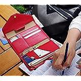 多機能 パスポート ケース 財布兼用 男女両用 チケット 小物 カード スッキリ収納で持ちやすい! (赤)