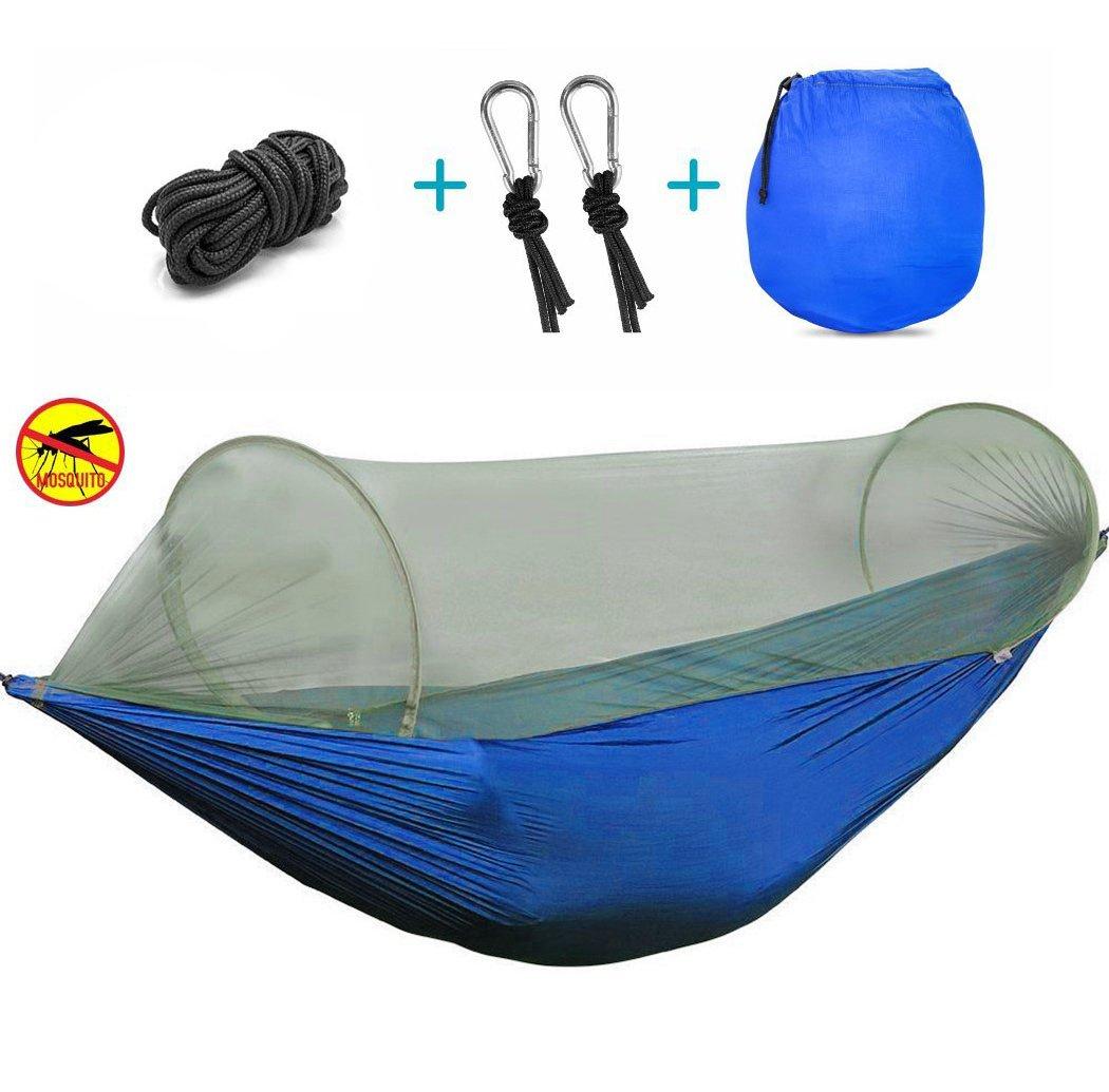キャンプハンモックセットwith Mosquito Net、viniking、耐久軽量パラシュートナイロン生地ハンモック、ポータブルと折り畳み式のバックパッキング、キャンプ、旅行、ビーチ、ヤード114 x 57インチ B073H5F9F9 ブルー ブルー
