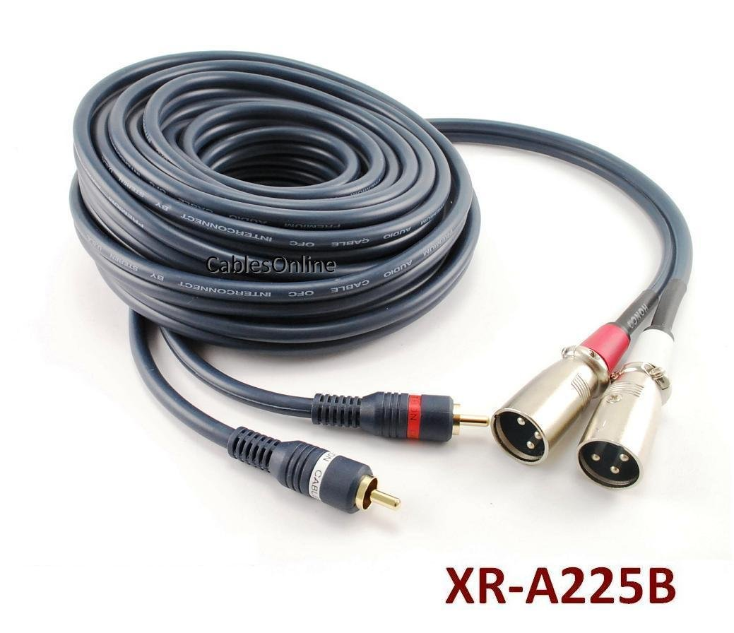CablesOnline 25ft Dual XLR 3C Male to 2-RCA Male Professional Grade Stereo Audio Cable (XR-A225B)