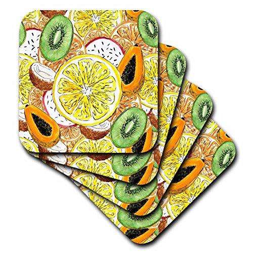 Glass Kiwi Tile (3dRose Anne Marie Baugh - Patterns - Lemons, Kiwi, Coconuts, Papaya Over Lay Pattern - set of 4 Ceramic Tile Coasters (cst_263506_3))