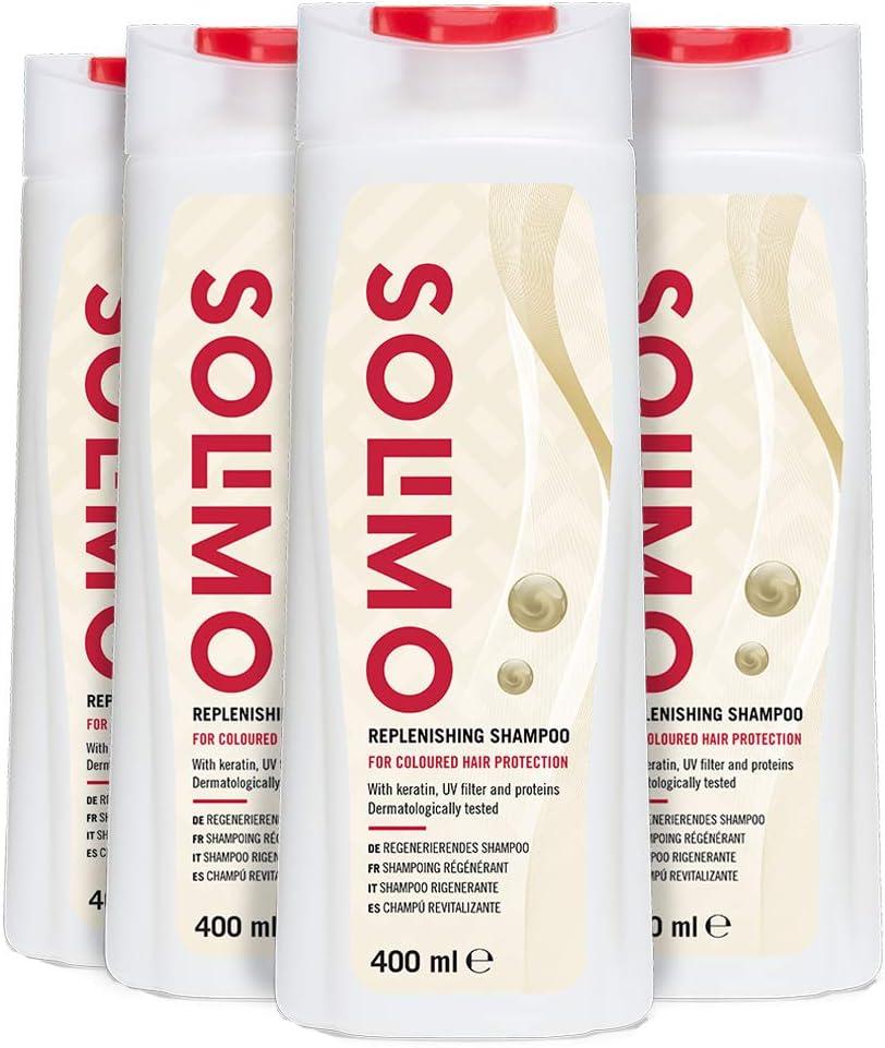 Marca Amazon - Solimo Champú revitalizante, protección para el cabello teñido, con queratina, filtro UV y proteínas- Paquete de 4 (4 Botellas x 400ml)