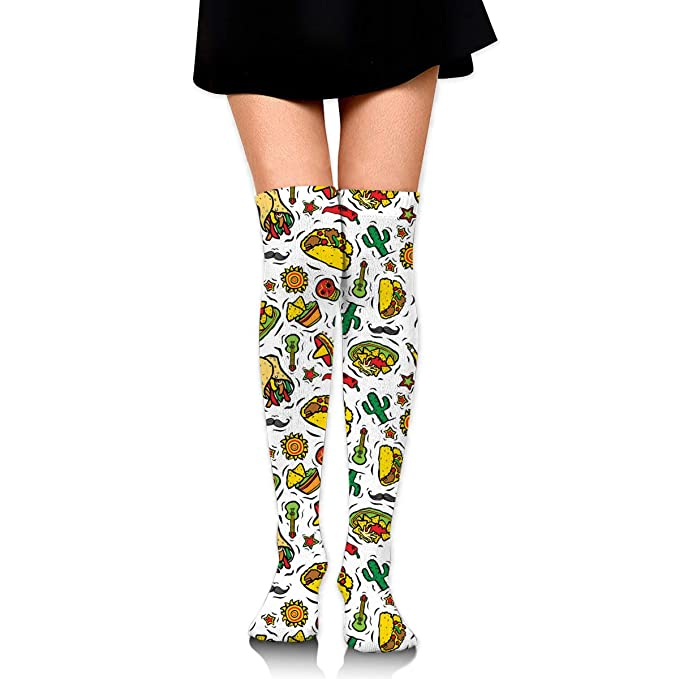 Super Mexican Food Taco Womens Knee High Socks Fancy Design ...