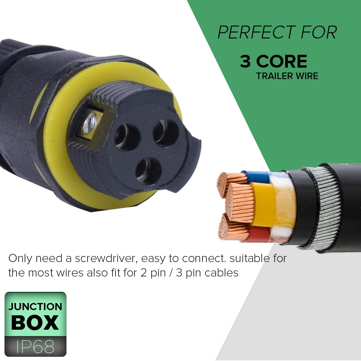 2-Pack La Vane 2 Way IP68 Waterproof 5 Pin Cable Connector External Sleeve Coupler for /Ø 4-14mm Cable Range 2 Way IP68 Waterproof Junction Box Outdoor Cable Connector