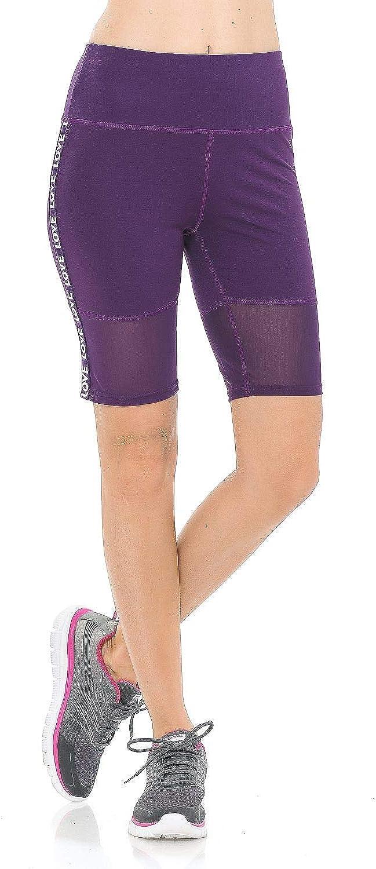 Aulin/é Collection Womens High Waist Activewear Running Yoga Workout Biker Shorts