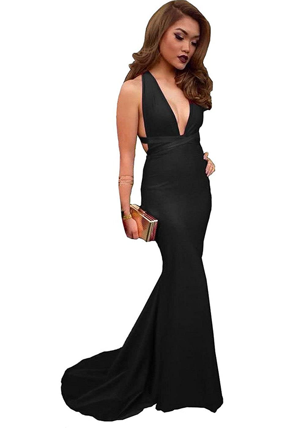 36f35385bad9 Amazon.com  DYS Women s Plunging Neckline Mermiad Prom Dress Long Evening  Formal Dresses  Clothing