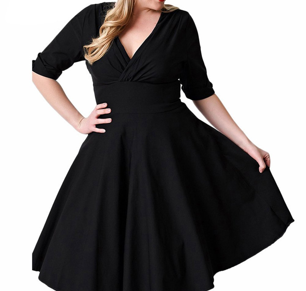 0a39749e7143 Vestiti Eleganti Donna Vestito Da Cocktail Rockabilly Swing Abito Taglie  Forti - Nero - 7XL  Amazon.it  Sport e tempo libero