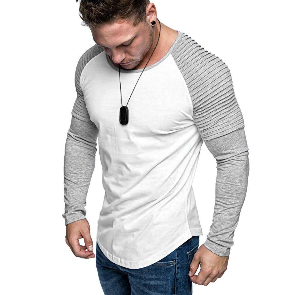 GDJGTA T-Shirt for Mens Casual Slim Fit Long Sleeve Patchwork Shirt Top Round Neck Blouse
