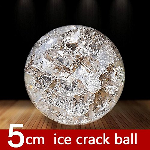 Labu Store Crystal Ice Crack Ball Quartz Glass Marbles Magic Sphere Fengshui Ornaments Water Fountain Bonsai Ball Home Decor Ornaments ()