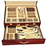 Florentia Collection 72-Piece Cutlery Set 'Soderini' Luxury Surgical Stainless Steel Silverware Flatware Set 18/10, Service for 12, 24K Gold-Plated Hostess Serving Set in a Wooden Case by Joseph Sedgh by Florentia Collection