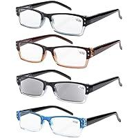 Eyekepper 4-pack Spring Hinges Rectangular Reading Glasses Includes Sun Readers