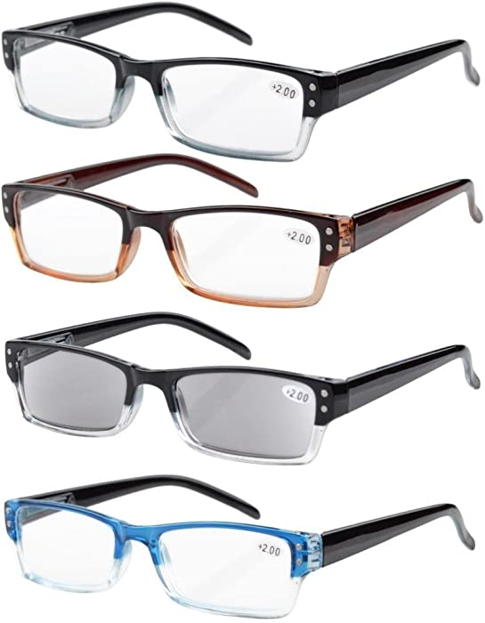 207d9120b26 Eyekepper 4-Pack Spring Hinges Rectangular Reading Glasses Includes  Sunshine Readers +0.5