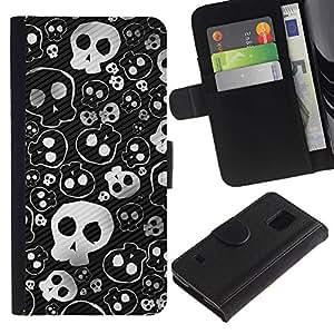 SAMSUNG Galaxy S5 V / i9600 / SM-G900 , la tarjeta de Crédito Slots PU Funda de cuero Monedero caso cubierta de piel ( Skull Cute Cool Metal Design Death Punk)