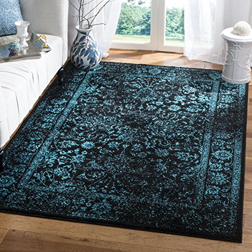Safavieh Adirondack Collection ADR109K Black and Teal Oriental Vintage Distressed Area Rug (5'1 x 7'6)