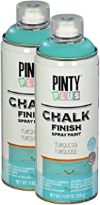 Pintyplus Chalk Finish Spray Paint - Turquoise 13.5 oz Cans, 2 Pack - Water Based, Environmentally Friendly, Fast Drying - Ideal on Wood, Melamine, Canvas, Iron, Plastic, Cardboard, and Glass
