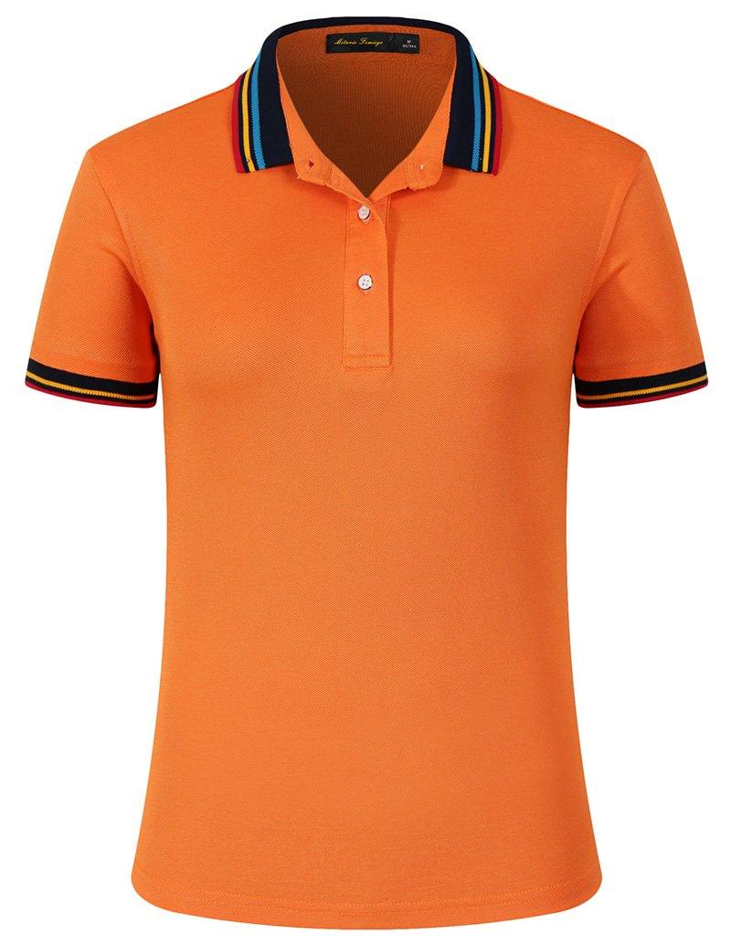 Mitario Femiego Women Classic Rainbow Stripe Collar Slim Fit Short Golf Polo Shirt Orange S