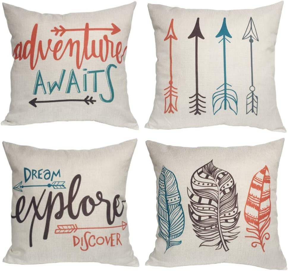 Feather Arrows Throw Pillow Case Inspirational Words Cushion Cover Home Decorative Square Pillowcases 18×18 Inch,4pack(Adventure Awaits,Dream Explore Discover, Ethnic Arrows, Feathers)